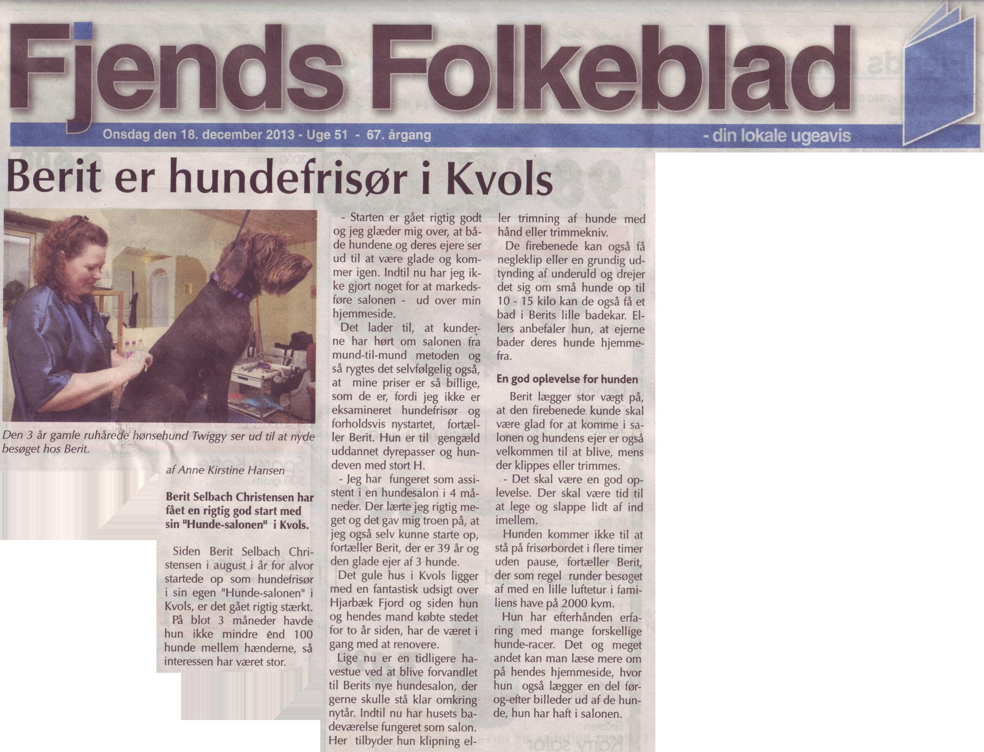Hunde-Salonen i Fjends Folkeblad, 18. december 2013